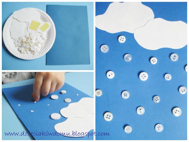 در این صفحه شما نحوه ساخت ابر و باران با دکمه و کاغذ را به کودک خود آموزش خواهید داد. ساخت آسمان و ابر با مقوا و کاغذ رنگی