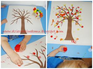 آموزش درخت پاییزی با کاغذ و مهر