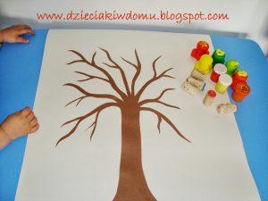 آموزش درخت پاییزی با کاغذ و مهر02