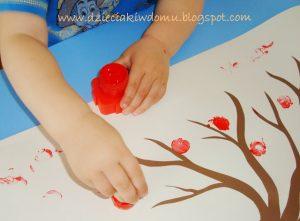 آموزش درخت پاییزی با کاغذ و مهر04