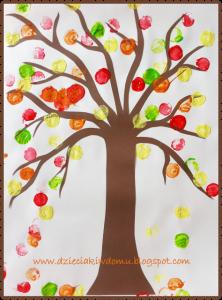 سرا آموزش کاردستی کودک با کاغذ و مهر درخت پاییزی06