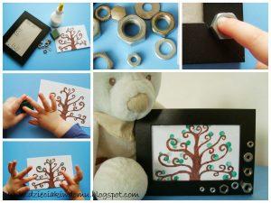 نقاشی درخت با انگشت و رنگ