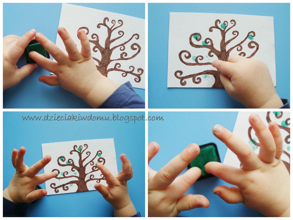 سرا نقاشی درخت با انگشت و رنگ 02