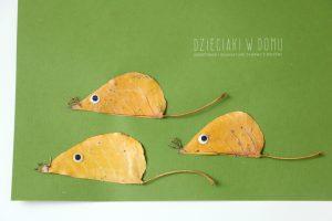 کاردستی موش با برگ درخت بلوط