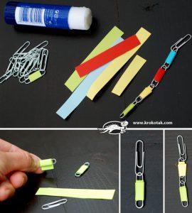 ساخت کاردستی روز مادر دستبند با گیره ی کاغذ