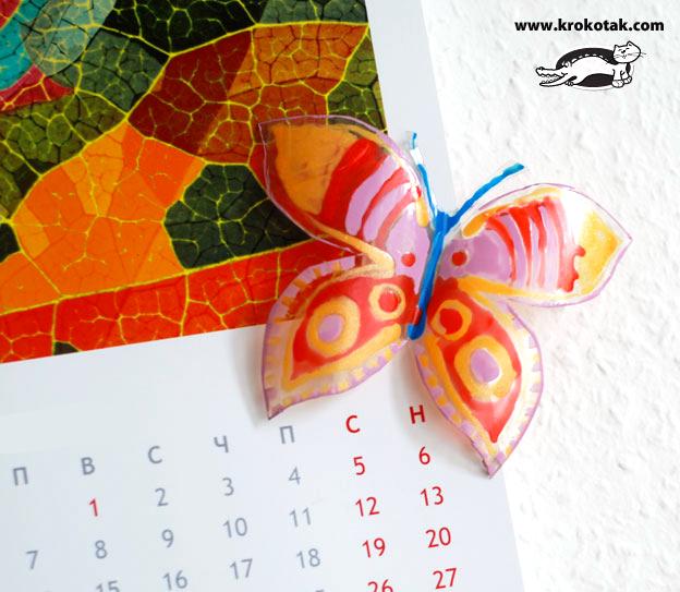 سرا ساخت کاردستی پروانه با شیشه نوشابه و لاک ناخن 01