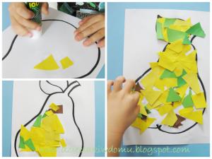 ساخت گلابی با کاغذهای رنگی