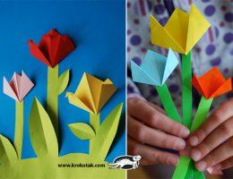 ساخت گل های رز از کاغذهای رنگی 02