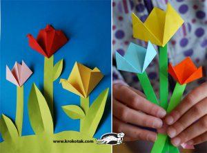 کاردستی ساخت گل های رز از کاغذهای رنگی