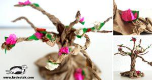 کاردستی ساخت درخت با پاکت قهوه ای و کاغذ رنگی