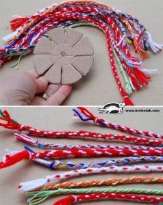 ساخت کاردستی دستبند با کاموا