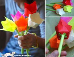 سرا ساخت کاردستی گل لاله از کاغذهای رنگی سری دوم 01