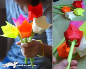 ساخت کاردستی گل لاله از کاغذهای رنگی سری دوم