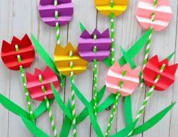 سرا ساخت کاردستی گل لاله با کاغذهای رنگی 01