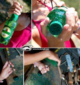 ساخت کاردستی آب پاش با شیشه نوشابه