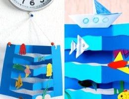 سرا کاردستی ساخت دریای موج دار با کشتی و ماهی 01