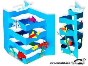 دریای موجدار با کشتی و ماهی