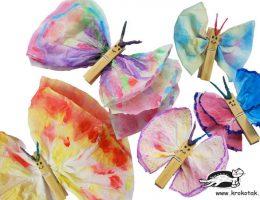 سرا کاردستی ساخت پروانه با دستمال کاغذی و گیره لباس 01