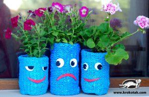 کاردستی ساخت گلدان از نایلون های دستی