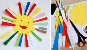 کاردستی ساخت خورشید از کاغذ های رنگی