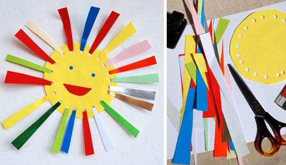 سرا کاردستی ساده ساخت خورشید از کاغذ های رنگی 01