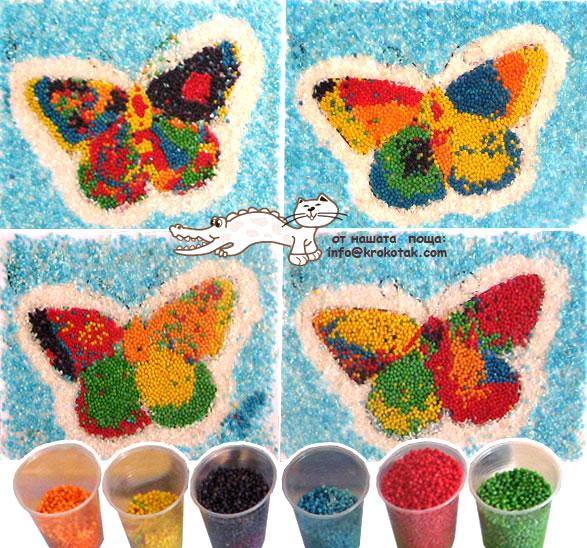 سرا کاردستی ساده ساخت پروانه از پولک های رنگی 01